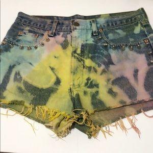 Levi's cutoff studded tie dye jean shorts